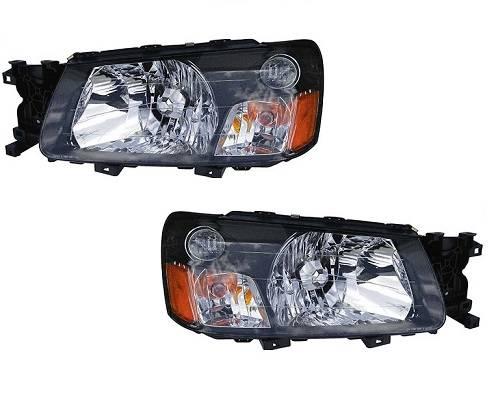 2003 2004 Pair Forester Headlight Lens Cover Housing Bracket Embly