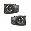 Xterra - Lights - Headlight - Nissan -# - 2002 2003 2004 Xterra XE Headlight Dark Gray -Driver and Passenger Set