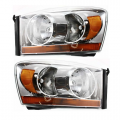 2006 Dodge Ram Truck Front Headlight Lens Cover Assemblies Chrome -Driver and Passenger Set