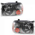 Frontier - Lights - Headlight - Nissan -# - 2001-2004 Frontier Front Headlamp Lens Units Black Chrome -Driver and Passenger Set