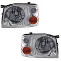 Frontier - Lights - Headlight - Nissan -# - 2001-2004 Frontier Front Headlight Lens Units with Chrome Bezel -Driver and Passenger Set
